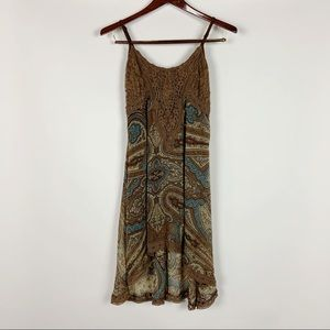 Miss Me Paisley Sleeveless Dress Brown High Low